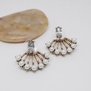 Crystal & Faux Pearl Fanned Ear Jacket Earrings